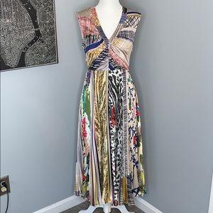 Multi-Print Anthropologie V-Neck Pleated Dress